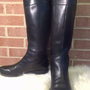 Nine West Women Black Leather Knee High Boots 11